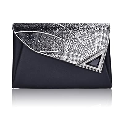 e97115063b Designer Evening Clutch Bag For Women Elegant Leather Rhinestone Glitter  Designer Clutch Bags Handbag Wedding Party Bridal  Amazon.co.uk  Shoes    Bags