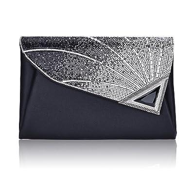 b89985aa7a46 Designer Evening Clutch Bag For Women Elegant Leather Rhinestone Glitter  Designer Clutch Bags Handbag Wedding Party Bridal  Amazon.co.uk  Shoes    Bags