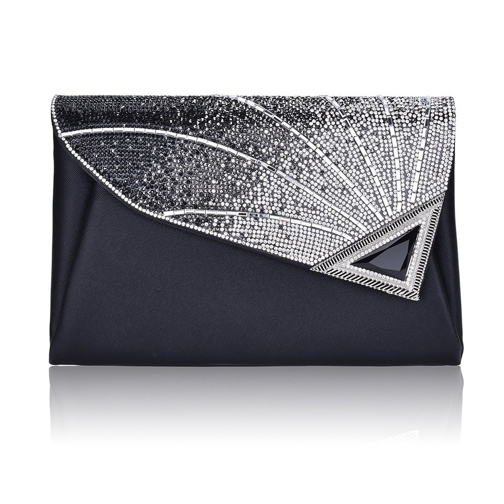 Clutch Purse For Women Formal Ladies Rhinestone Clutch handbags Leather Clutch Bag Wedding Bridal Cocktail With Strap(Black)