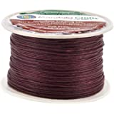 Mandala Crafts 1mm 109 Yards Jewelry Making Crafting Beading Macramé Waxed Cotton Cord Thread (Maroon)
