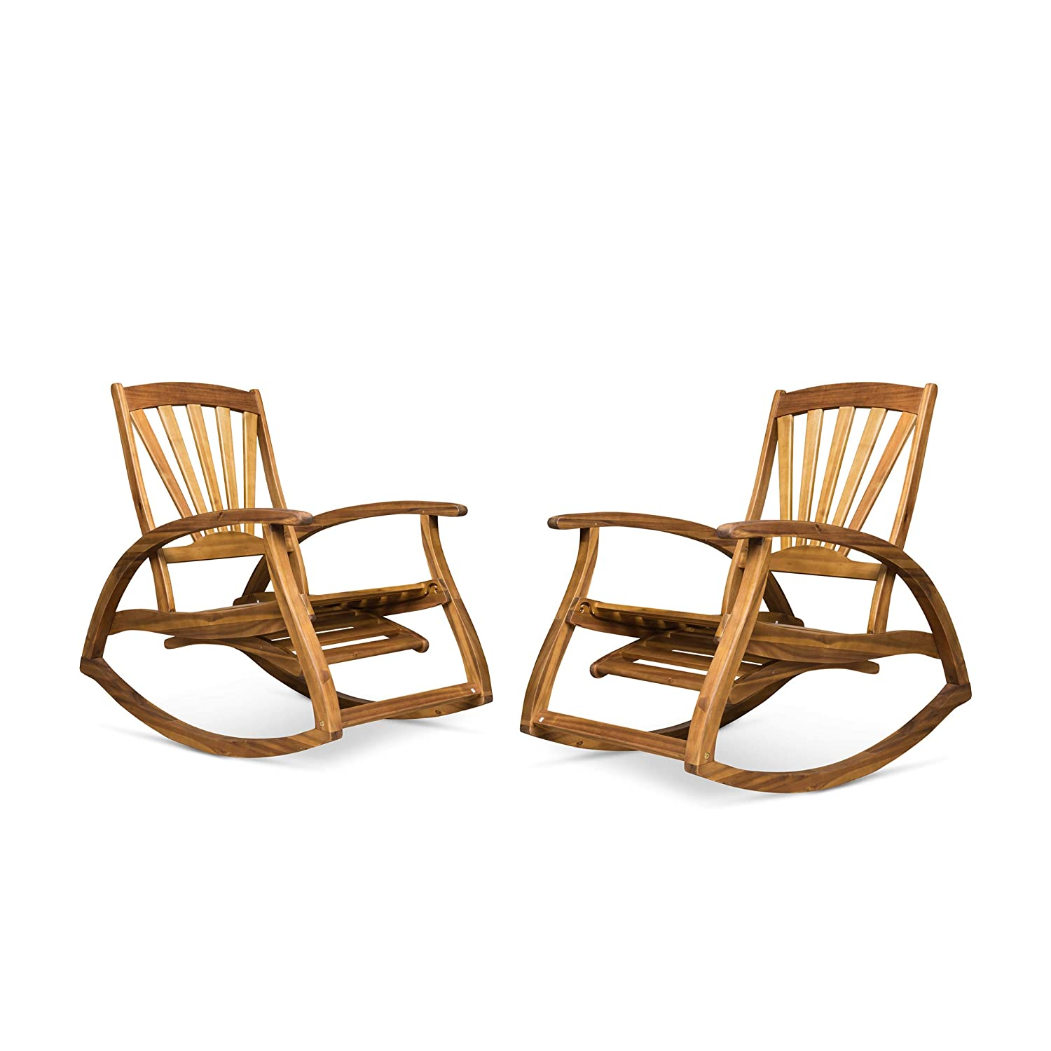 Great Deal Furniture Lee Rocker Recliners for Porch or Patio | Acacia Wood | Teak Finish | Set of 2