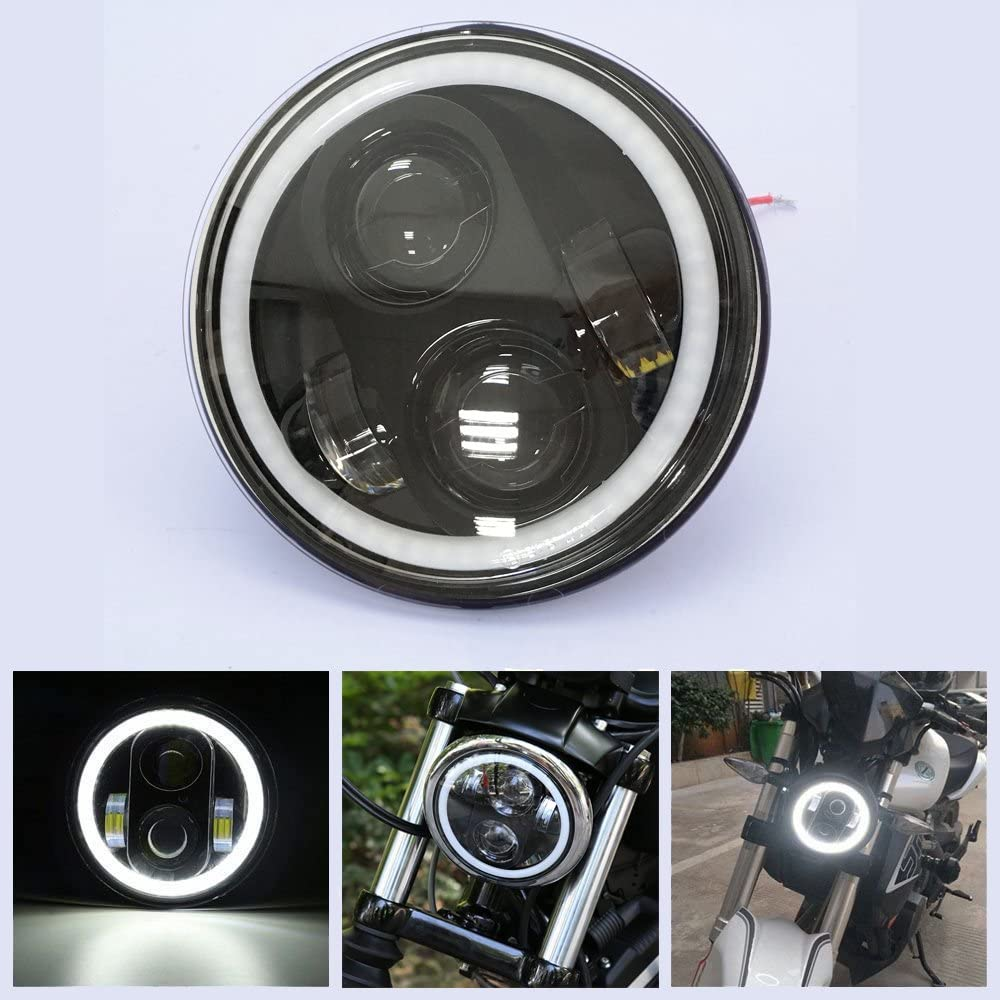 LED 40W faro de 5.75 pulgadas luz de moto de 5.75 pulgadas Daymaker Projector Angel Eyes los Ojos del ángel con DRL luz de carretera luz de cruce para Harley Davidson.