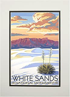 product image for White Sands National Monument, New Mexico - Sunset Scene (11x14 Double-Matted Art Print, Wall Decor Ready to Frame)