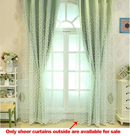 ASide BSide Voile Drapes Home Decorations Rod Pockets Leaves Bud  Embroidered Lovely Style Sheer Curtains For