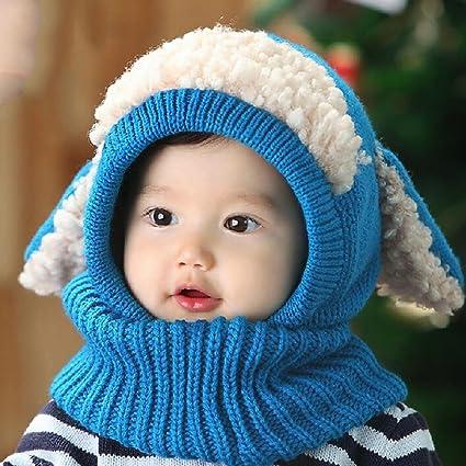 AOLVO Bebé niñas niños Infantil Invierno Gorro Bufanda Capucha Bufanda con  Orejeras Tapas de Calavera con e47e45c1fba