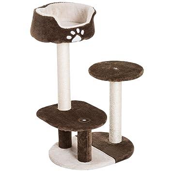 PawHut Rascador Gato Árbol Gatos Centro de Juego 3 Cama Poste Arañar Juguete Sisal Natural 45x35x77cm: Amazon.es: Productos para mascotas