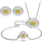 Majesto 925 Sterling Silver Flower Pendant Necklace Stud Earrings Bracelet Set For Women Teen Girls Prime Gift