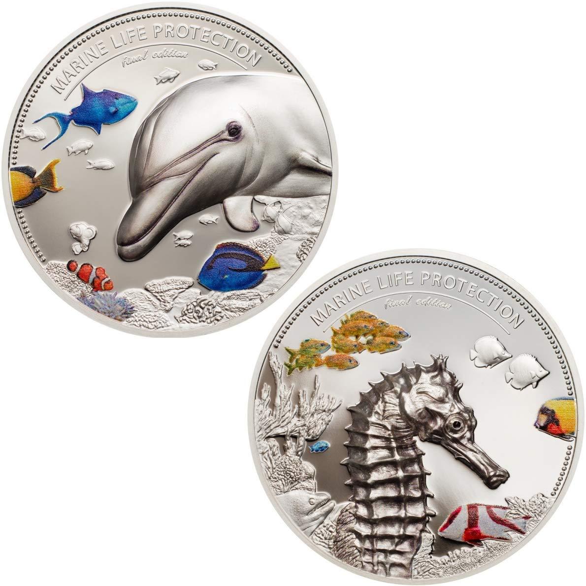 Marine Life Protection - Delfín y Caballito de Mar 10 2oz Set 2 Monedas Plata - Palaos 2017