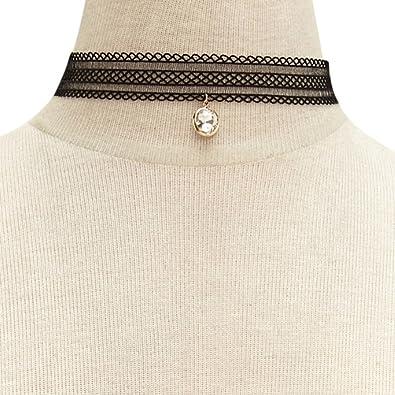 La Rose Elegante Collier Choker En Lace Noir Avec Pendentif Diamant