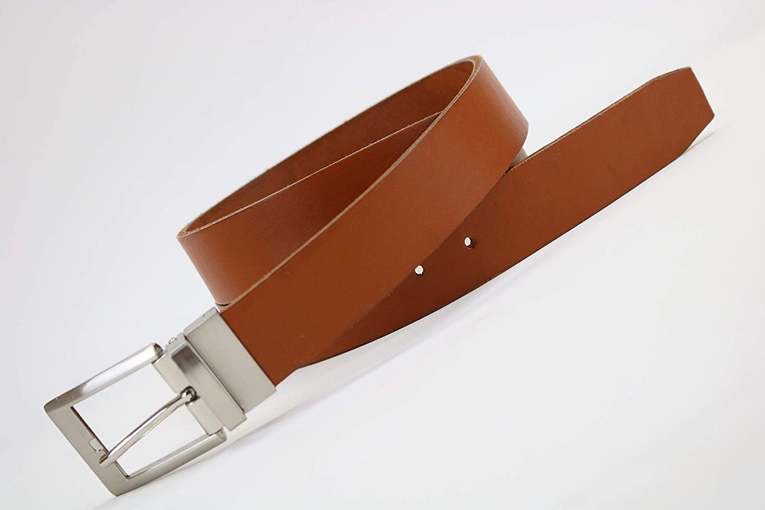 Mens tan leather belt with silver tone buckle