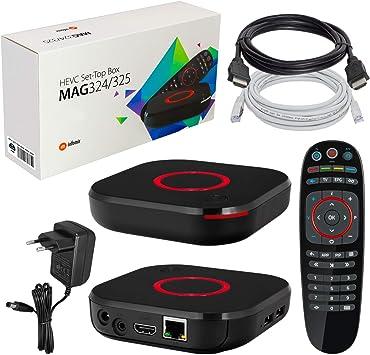 mag 324 Original Infomir y HB-DIGITAL IPTV Kit Top Box Reproductor Multimedia Internet TV Receptor IP (Compatible con HEVC H.256) + Cable HDMI + Cable de conexión LAN: Amazon.es: Electrónica