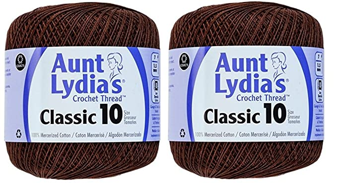Amazon Aunt Lydias Crochet Thread Size 10 Fudge Brown 2