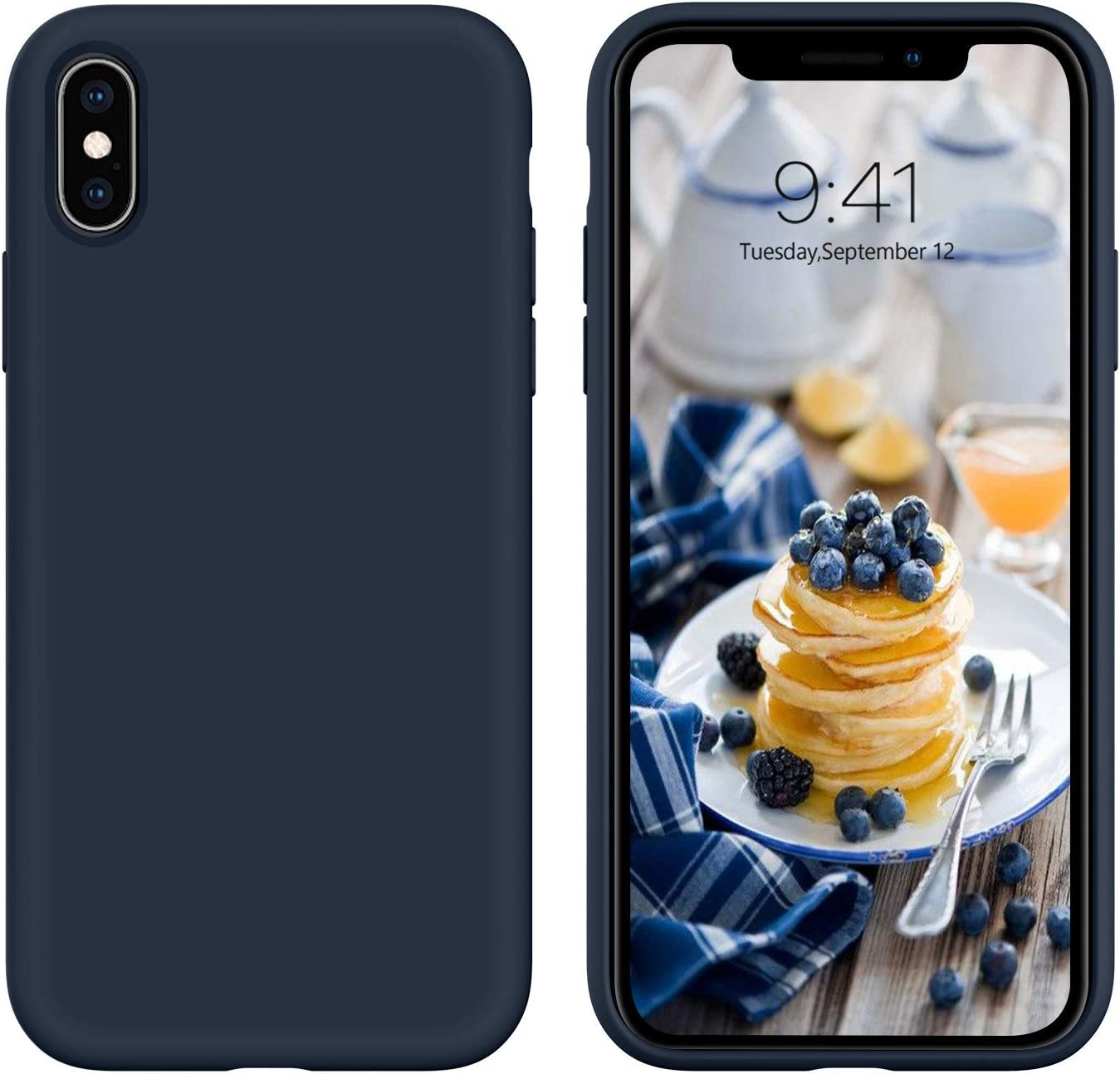 iPhone Xs Case,iPhone X Case, DUEDUE Liquid Silicone Soft Gel Rubber Slim Cover with Microfiber Cloth Lining Cushion Shockproof Full Body Protective Case for iPhone X/iPhone Xs, Midnight Blue