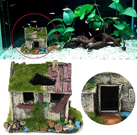 Aquarium Landscaping Decoration Resin House For Fish Tank