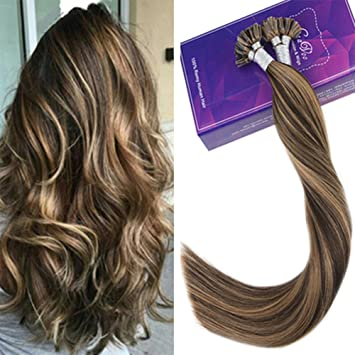 Laavoo 16inch Nail Tip Extensions Straight Brown Hair Caramel