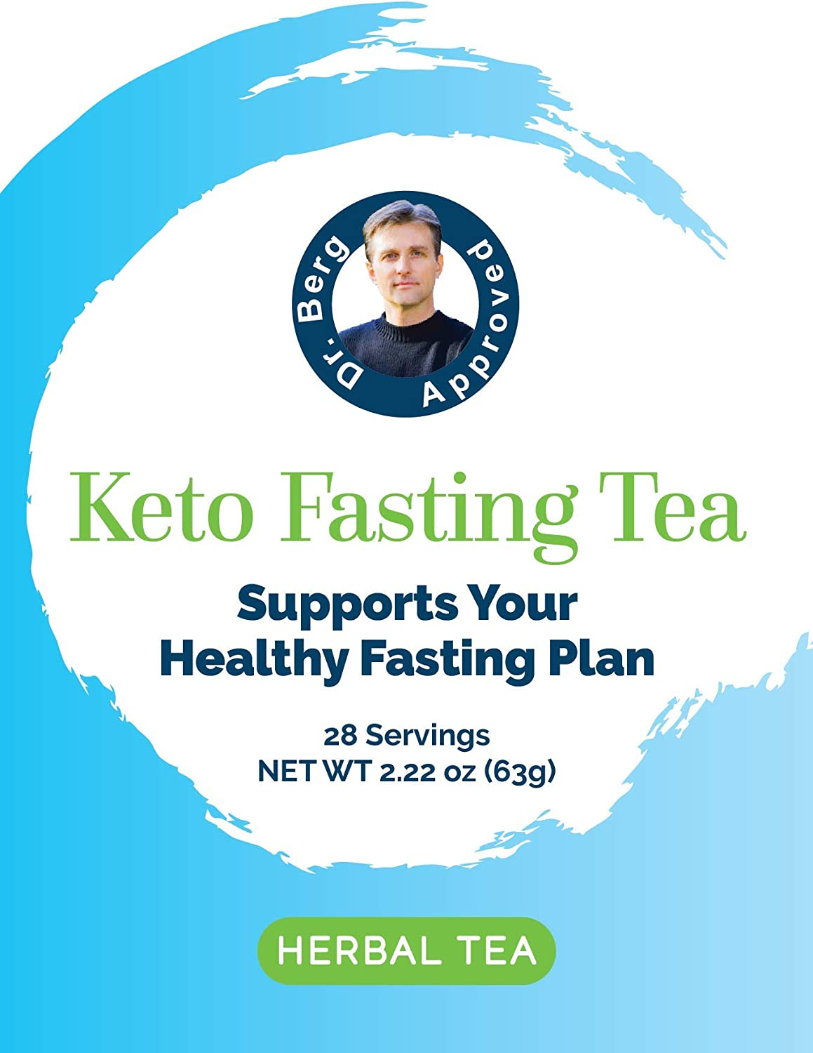 Dr. Berg s Keto Fasting Tea Unsweetened Caffeine-Free – an Appetite Suppressant Green Herbal Tea Drink to Help Reduce Hunger for Weight Loss – Dietary Supplement 6 Pack