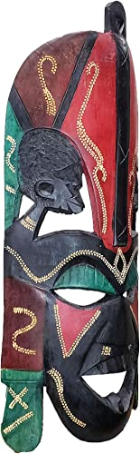 African Kissing Wedding Masks Wall Hanging Art Animal Tribal Hand Carving Safari D cor Wall Head Sculpture Wild Animal Giraffe Zebra Cheetah and Masai Tribal Faces Majestic Display 18 Inch - the best wall sculpture for the money