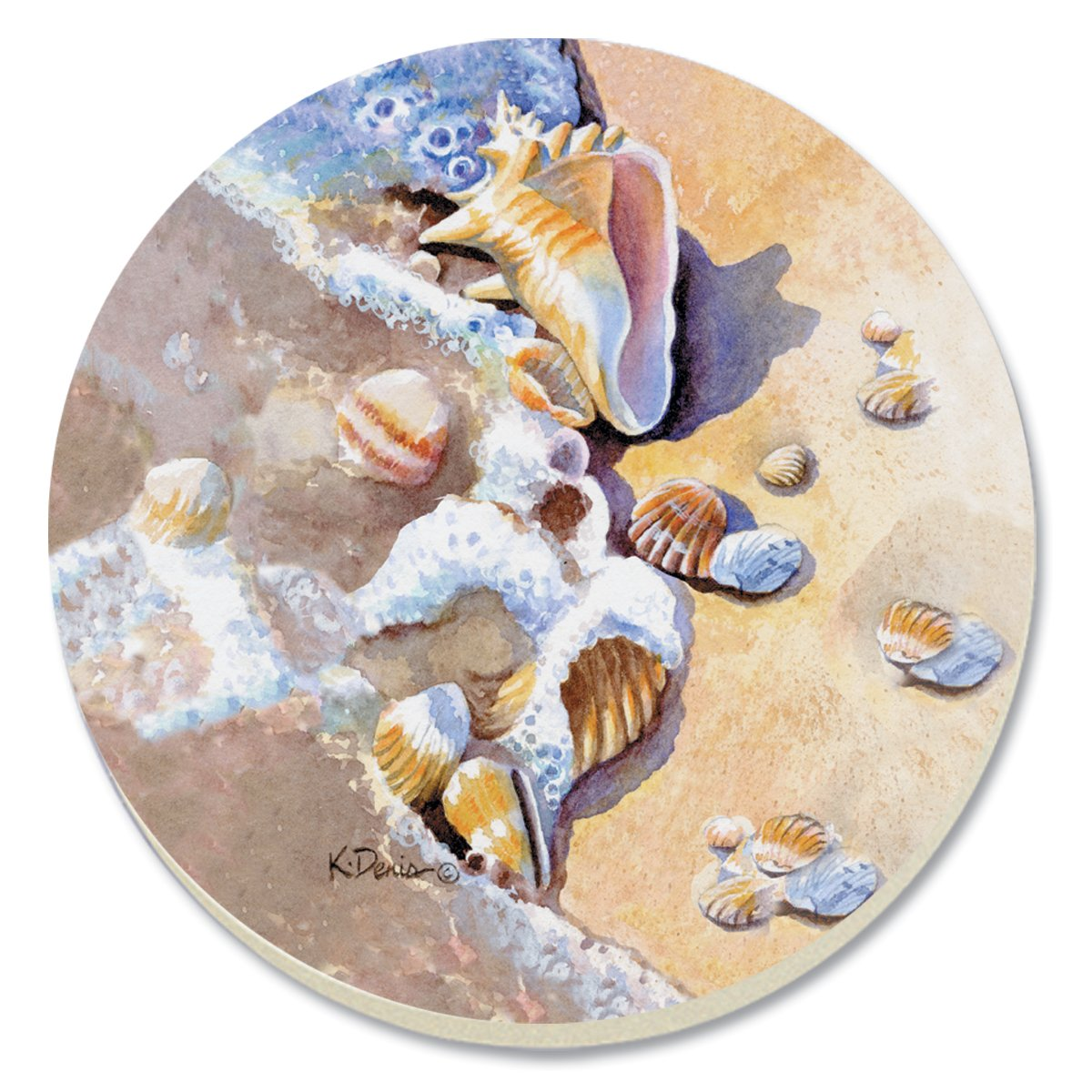Set of 4 CounterArt Beach Shells Absorbent Coasters