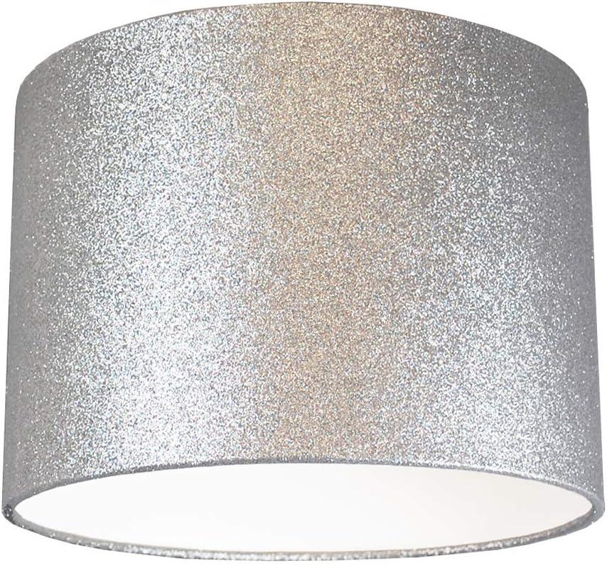 Sparkling Silver Grey Fabric Diamante Ceiling Table Light Pendant Lamp Shade