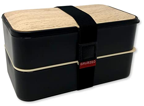 THE ORIGINAL Japanese Bento Box (Upgraded 2019 Black & Bamboo Design)  w/FREE Bento Food Ideas Guide + 2 Dividers + Larger Utensils w/Holder -