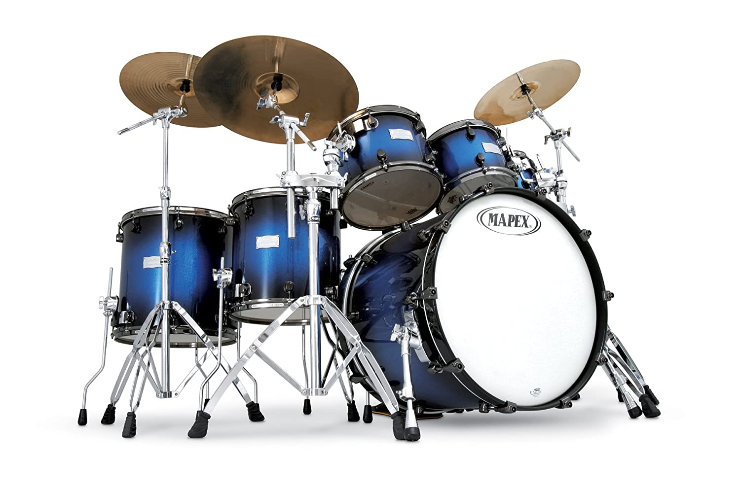 Amazon Mapex Saturn Series Plus Bass Fusion Pop 22 7 Piece Shell Pack Blue Galaxy Sparkle Burst Musical Instruments