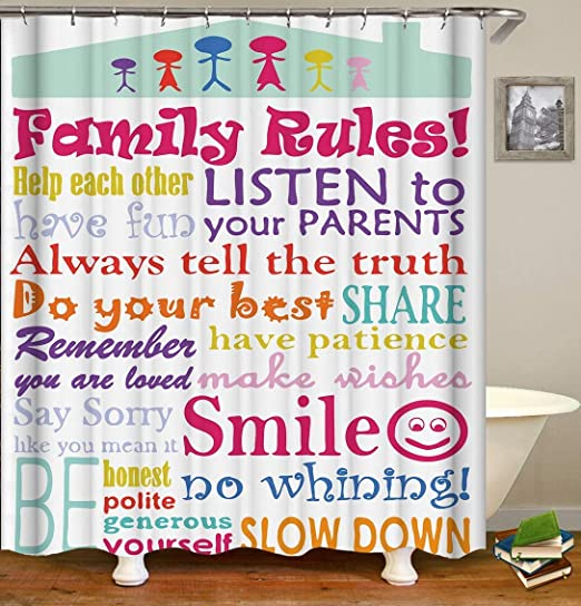 Waterproof Fabric Polyester Bathroom Shower Curtain Family Rules Educational Bath Curtains Set with Hooks,72X72inch