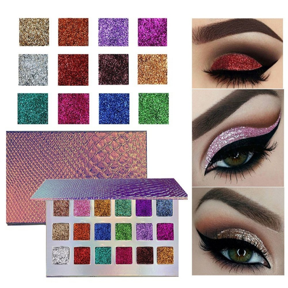 18 Colors Fish Scales Eyeshadow Palette, Woya Shimmer High Pigment Glitter Eye Powder