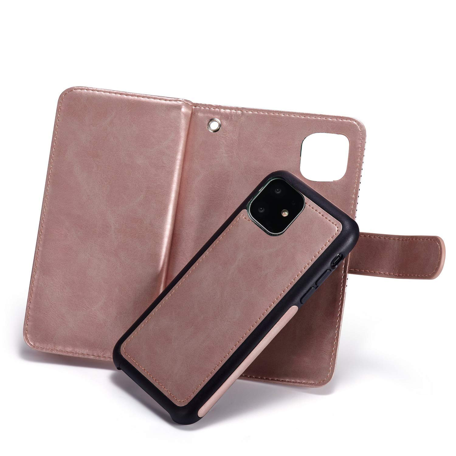 Black iPhone 11 Wallet Case,Detachable 2 in 1 case Fit Car Phone Mount Magnet Closure Premium Leather Zipper Purse FLYEE 8 Card Slots Flip Cover with Wrist Strap for Apple iPhone 11 6.1inch