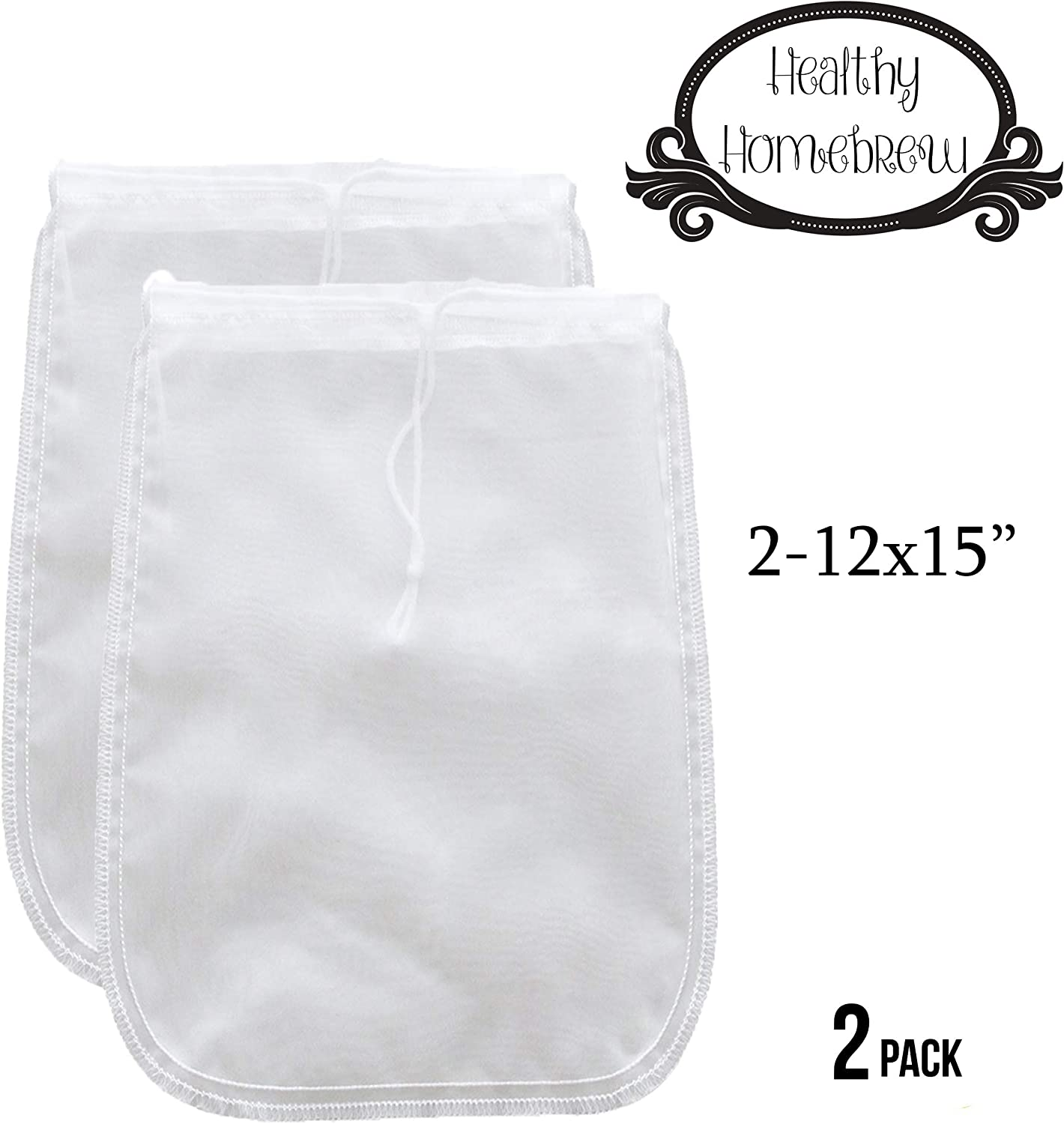 "Mesh Strainer Bags for Almond, Cashew Nut Milks, Cold Brew Coffee, Homemade Greek Yogurt, Juicing, Home brewing – Reusable Extra Fine Nylon Extraction Sack (2 Pack - 12x15"")"