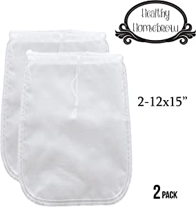 """Mesh Strainer Bags for Almond, Cashew Nut Milks, Cold Brew Coffee, Homemade Greek Yogurt, Juicing, Home brewing – Reusable Extra Fine Nylon Extraction Sack (2 Pack - 12x15"""")"""