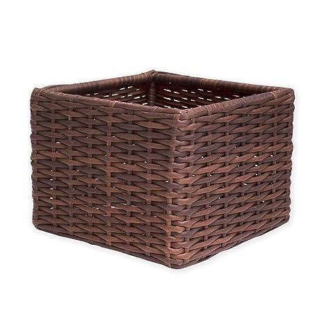 14u0026quot; X 14u0026quot; Casual Versatile Outdoor Wicker Storage Basket Cube