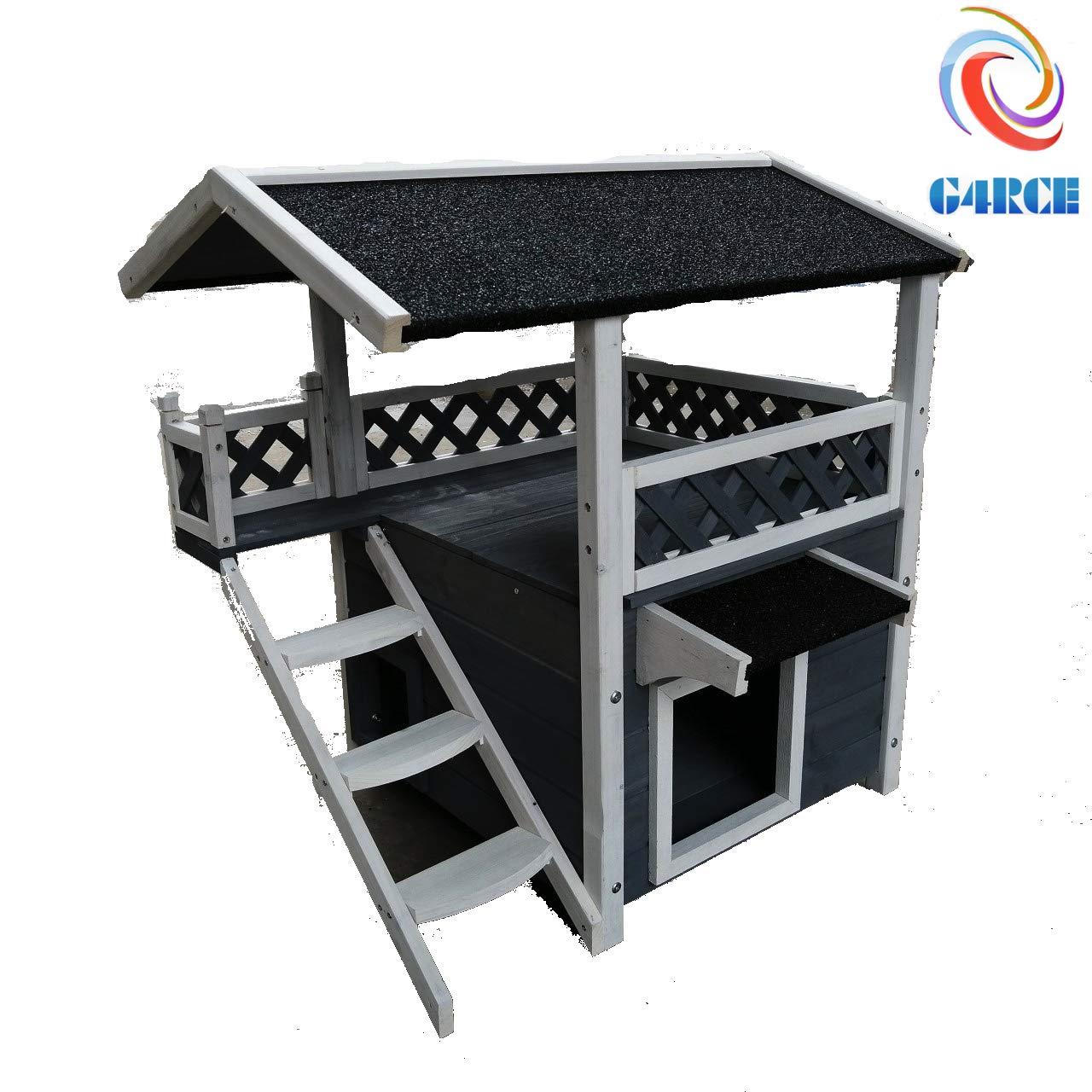 G4RCE® Cat House Den Wooden Maisonette Shelter Bed Fence Stair Step Dog Pet Hut UK