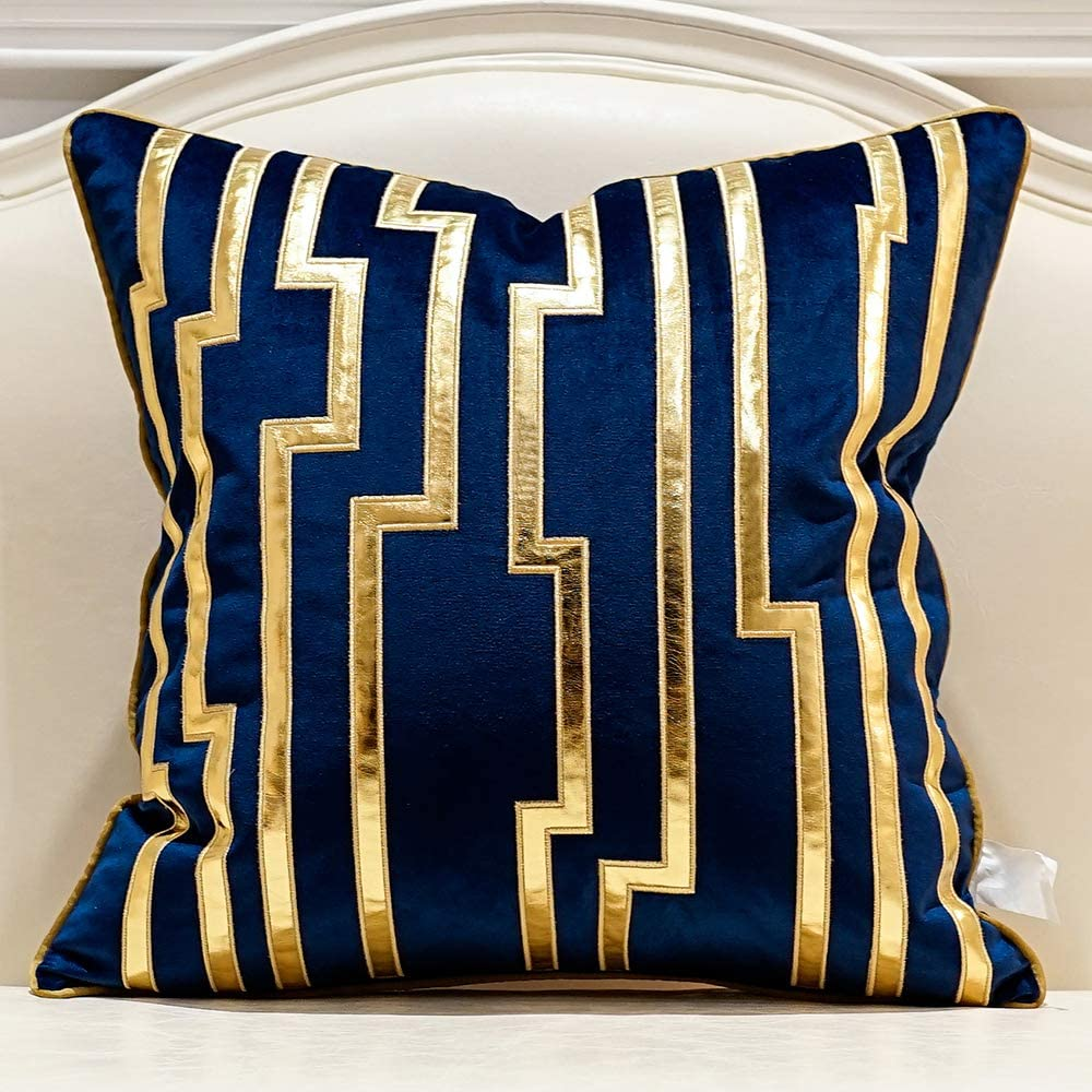 Avigers 18 x 18 Inches Navy Blue Gold Leather Striped Cushion Cases Luxury European Throw Pillow Covers Decorative Pillows for Couch Living Room Bedroom Car 45 x 45cm
