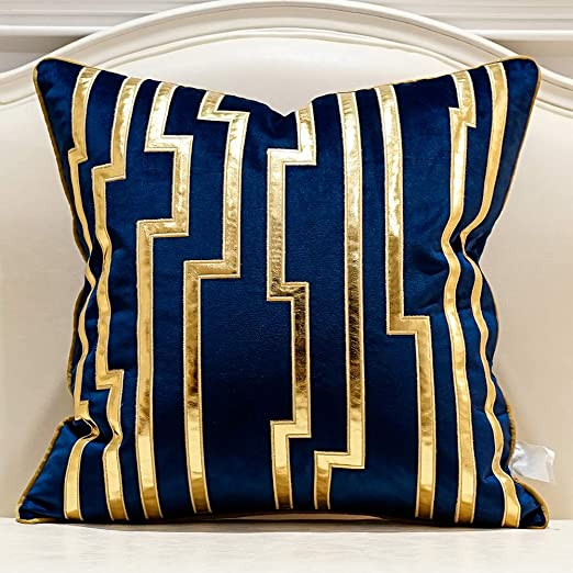 Amazon.com: Avigers 18 x 18 Inches Navy Blue Gold Leather Striped