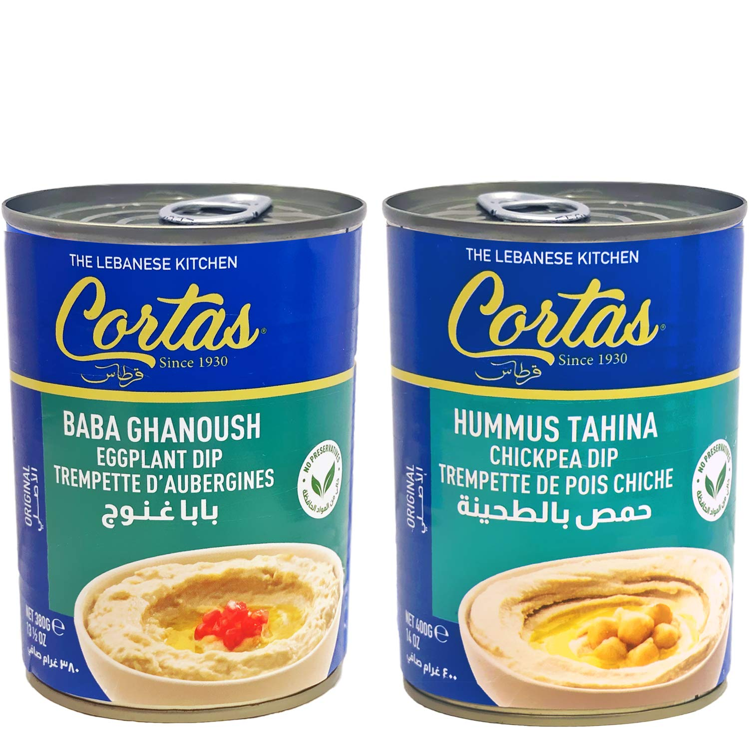 Cortas - Baba Ghanoush & Hummus Tahina (2 Cans Appetizer Combo), Eggplant Dip & Chickpea Dip, Ready to Serve (Gluten Free)