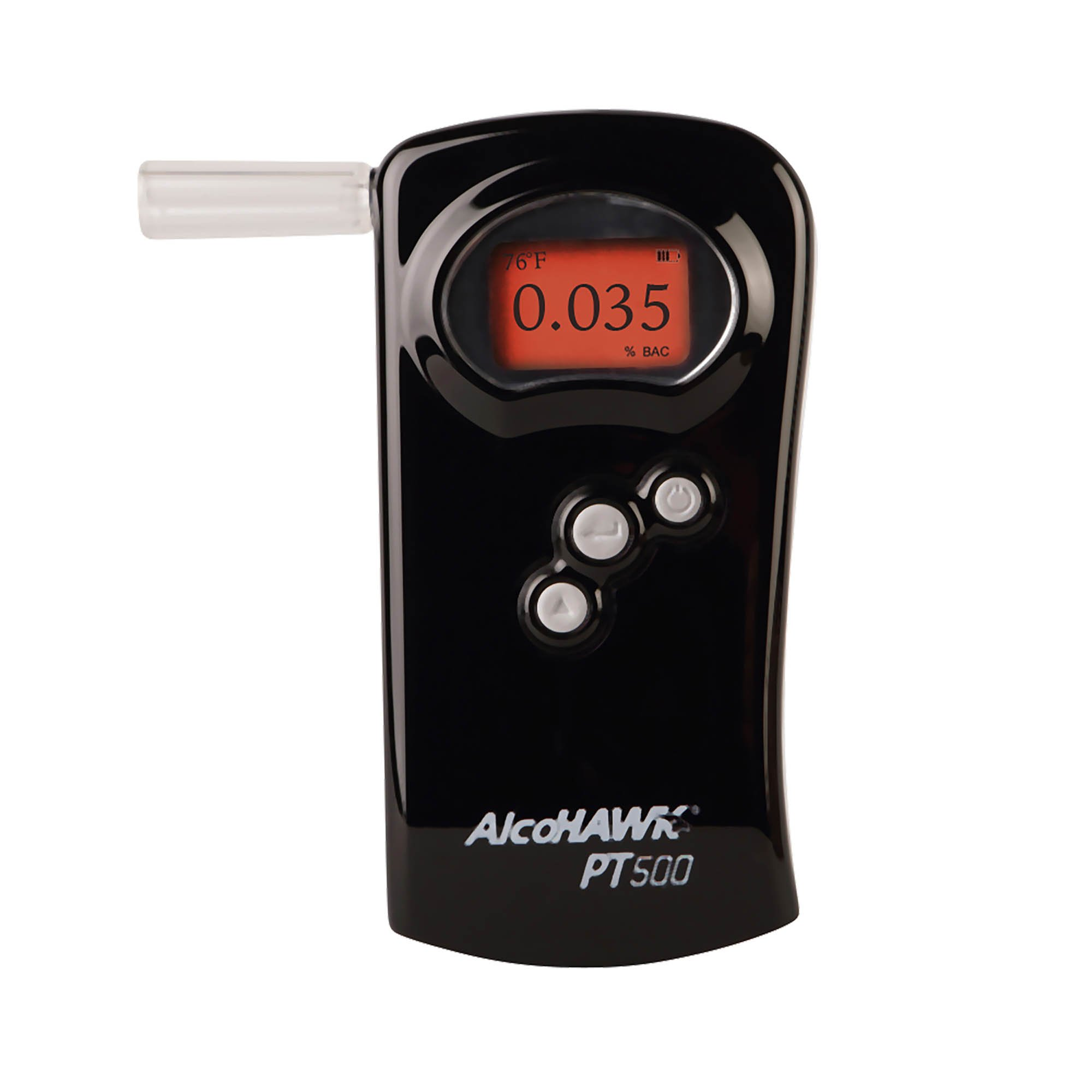 AlcoHAWK PT500 Breathalyzer, Fuel Cell Sensor, Police Grade Professional Breath Alcohol Tester, Portable Personal Use Alcohol Detector Accurate and Fast Results, BAC Tracker with Digital LCD Screen by AlcoHawk