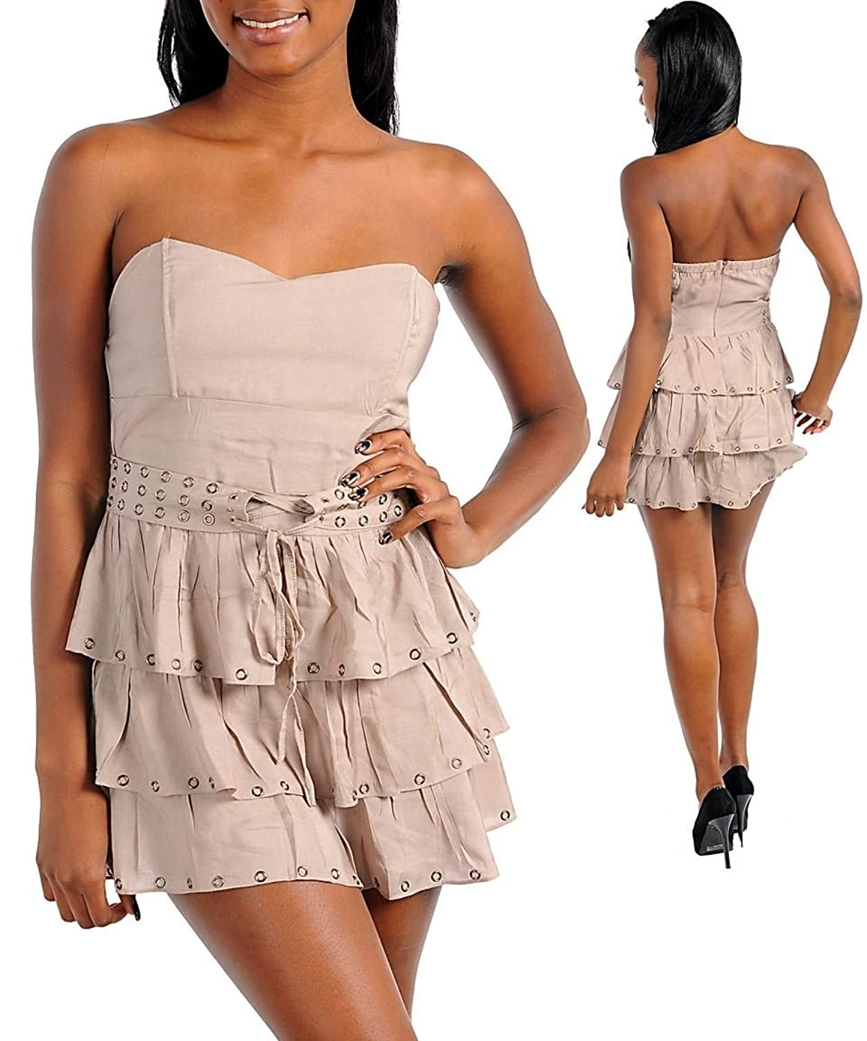 Women's Taupe Strapless Tiered Dress New Sexy Mini Party