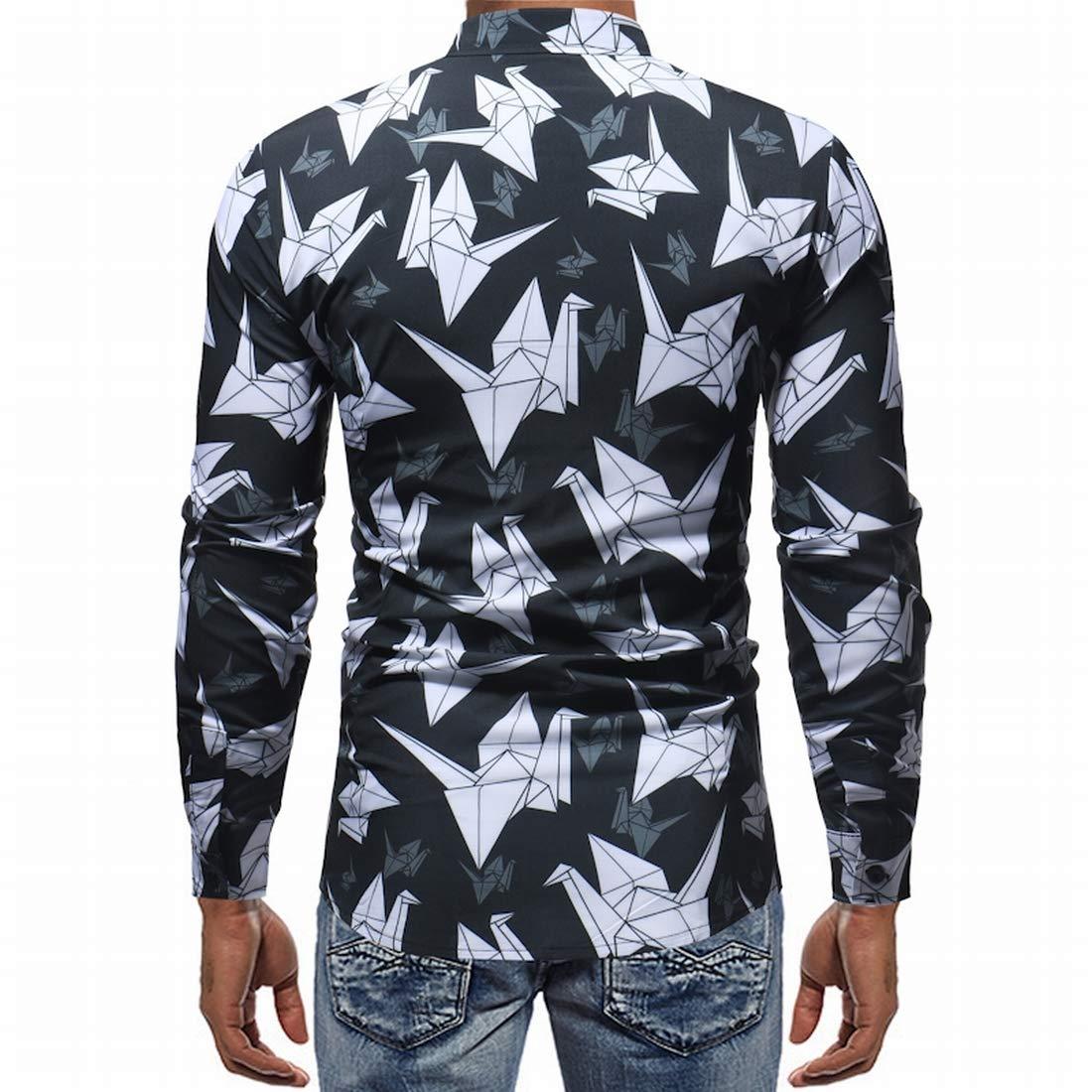 Nanquan Men Vintage Crane Print Long Sleeve Slim Fit Casual Shirt