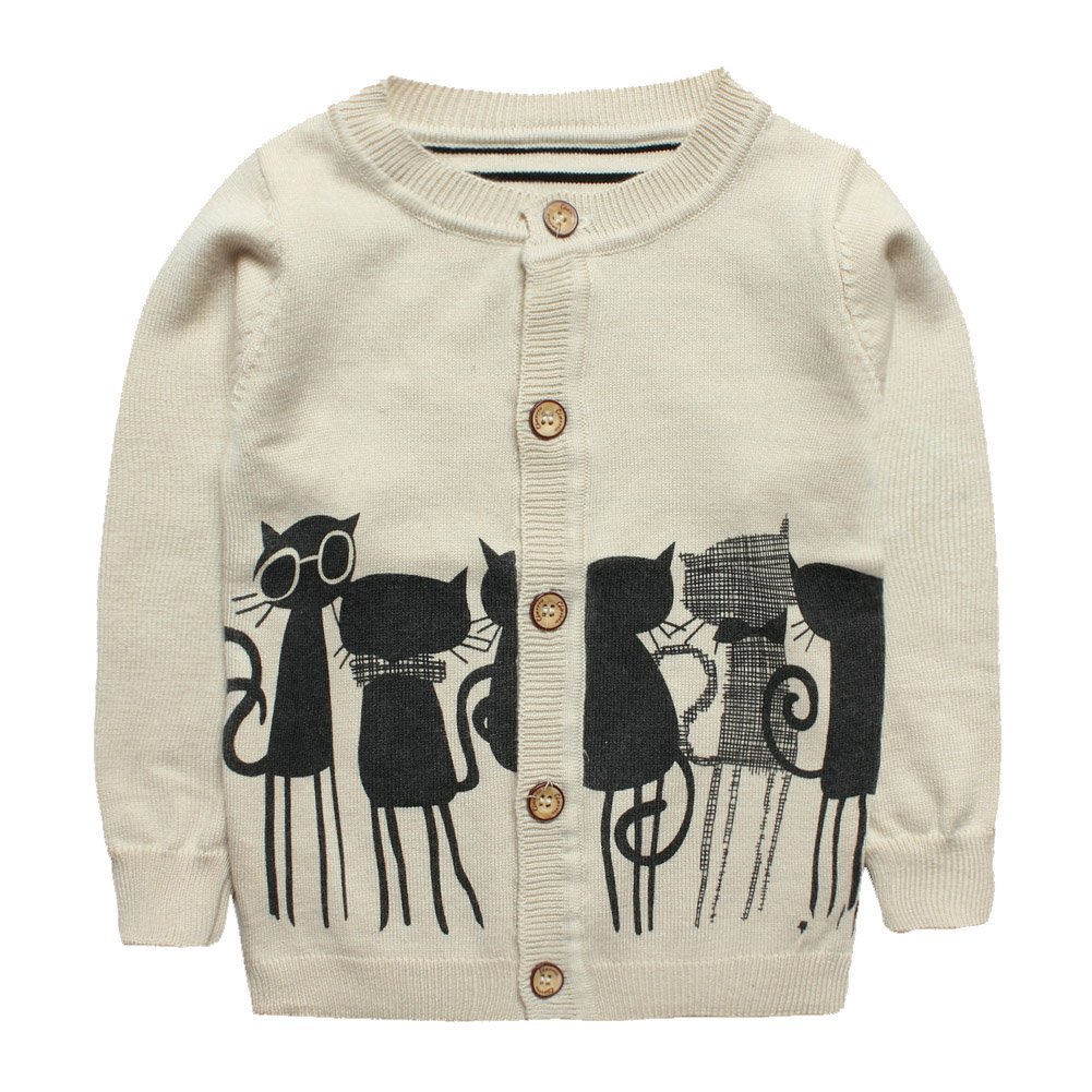 eTree Boys' Girls' Cashmere Cat Pattern Round Collor Cardigan Sweater 3-7 Years
