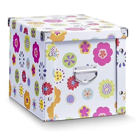Zeller 17854 Caja de almacenaje de cartón Multicolor (Blumen) 27.5 x 36 x 26.5