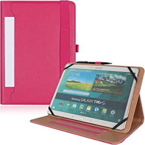 """PHARRI for 9"""" -11"""" Touch Tablet,Universal Document Card Pocket Case, Stand Folio Case Protective Cover with Multiple Viewing Angles, and Free Bonus Stylus Pen -Magenta"""