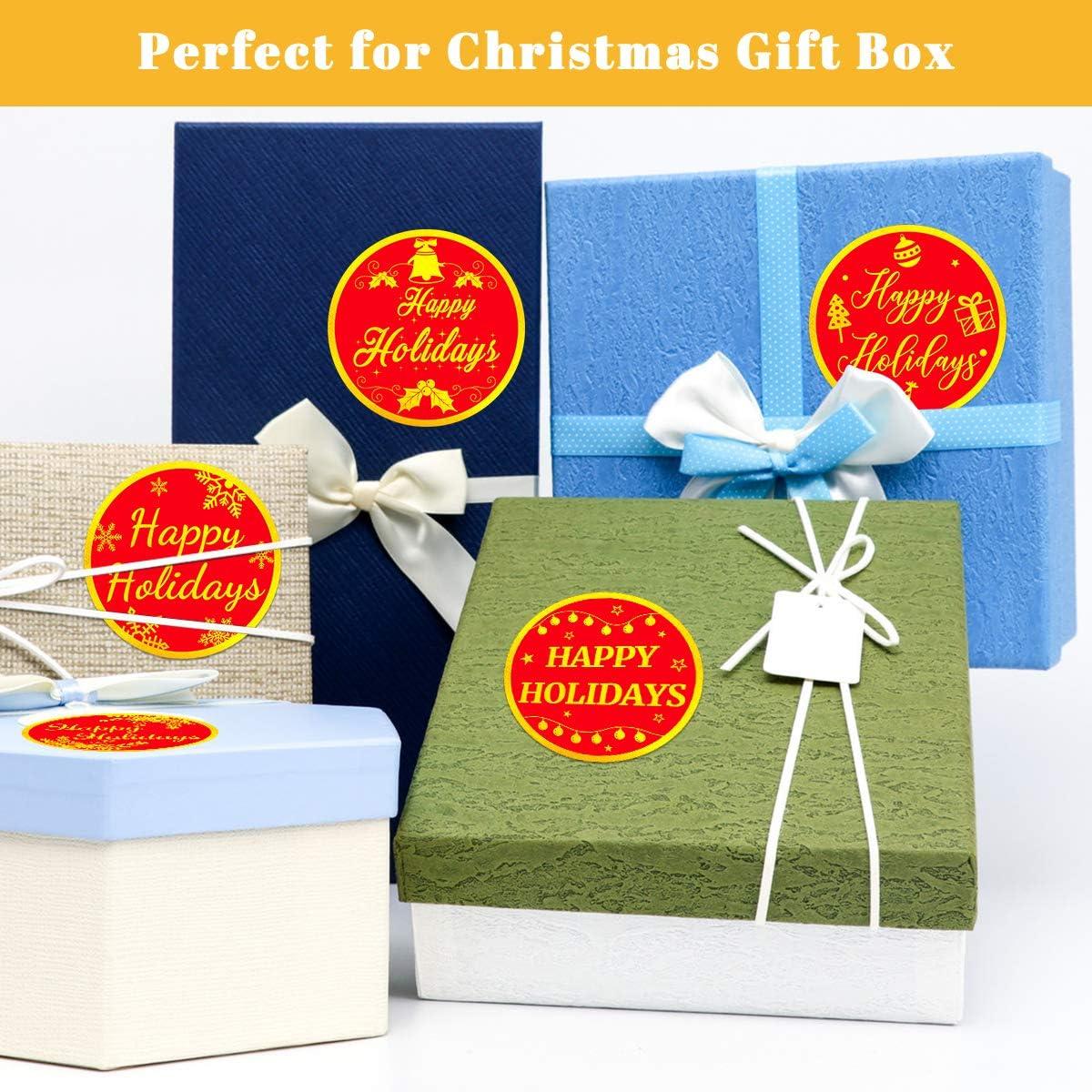 cajas de sobres bolsa de suministros de fiesta color dorado 5 cm para tarjetas de regalo 500 pegatinas de Navidad con dise/ño de Felices Fiestas