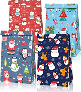 12 Packs Christmas Treats Bags+18 Pcs Christmas Stickers Party Favors,Kids Christmas Candy Bags,Mini Paper Gift Wrap Bags for Treats Snacks Christmas Goodie Bags Party Supplies