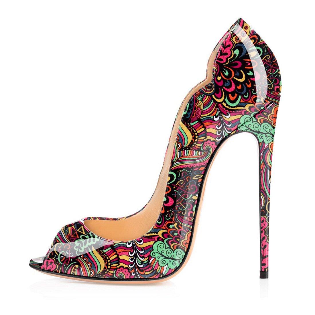 Soireelady - Zapatos con tacón Mujer 35 EU|Flower-red