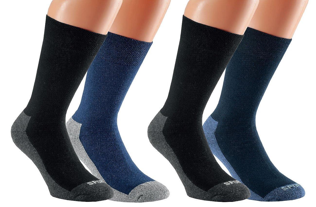 Vitasox Damen Herren Socken mit Frotteesohle Herrensocken Sportsocken Funktionssocken Baumwolle 4er Pack 32968