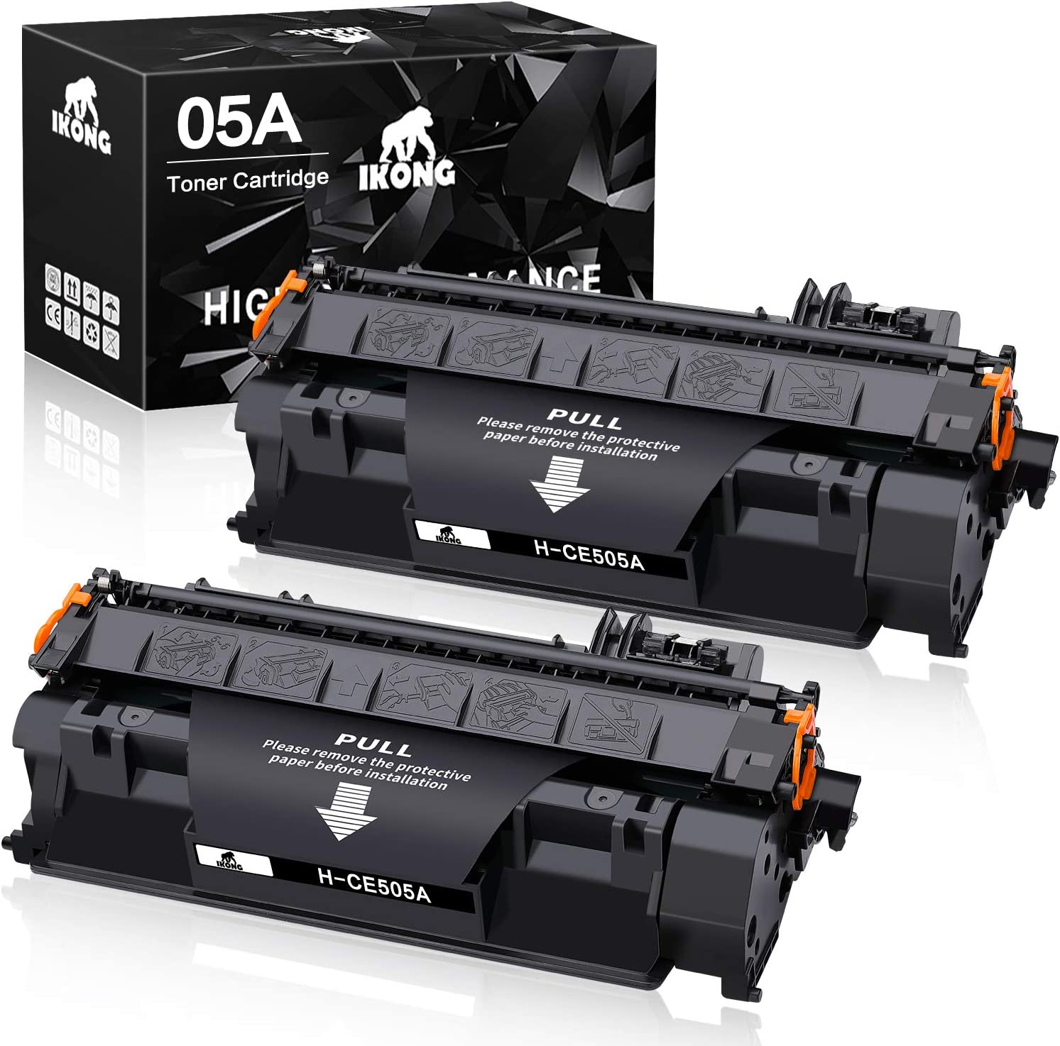 IKONG Compatible Replacement for HP 05A CE505A Toner Cartridge use with Laserjet P2035 P2035n P2055d P2055dn P2055x Printer (2-Black)