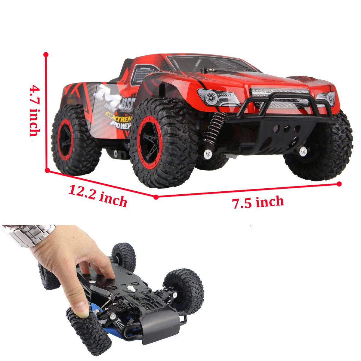 Hugine 1:16 20Km/h High Speed RC Car Off Road Vehicle 2.4G Racing Cars Rock Crawler Monster Truck Dune Buggy Extreme Independent Suspension Radio Control Cars For Kids Adults Hobby Toys (Red)