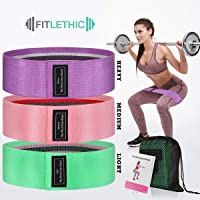 FITLETHIC Hip Resistance Loop Bands Set of 3, Fabric Anti Slip Booty Exercise Bands for Leg, Glutes, Hip, Squats, Gym Workout, Fitness- for Women, Men