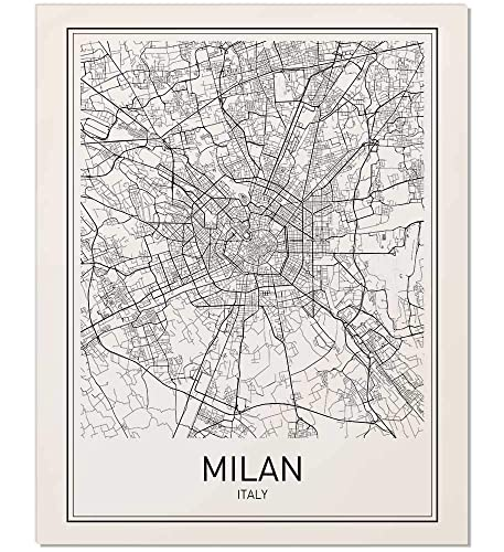 Black And White Map Of Italy.Amazon Com Milan Poster Milan Map Milan Art Map Of Milan City