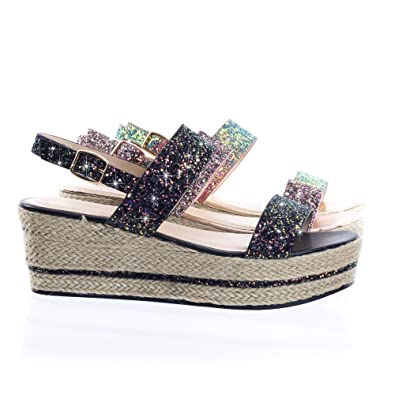 f9a9ade4fb0 Retro Rock Glitter Espadrille Rope Wrap Platform Wedge Sandal Black